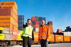 Coda chief executive Scott Brownlee and KiwiRail chief executive Peter Reidy: completing key freight logistics milestone.