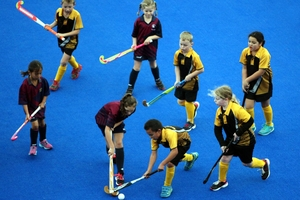 Arna Paewai (left), 8, from Frimley School in Hastings and Niwhai Heperi, 7, from Mahora School in Hastings tussle for possession in the junior hockey grade at Unison's Hockey Stadium on Saturday. Photo / Paul Taylor