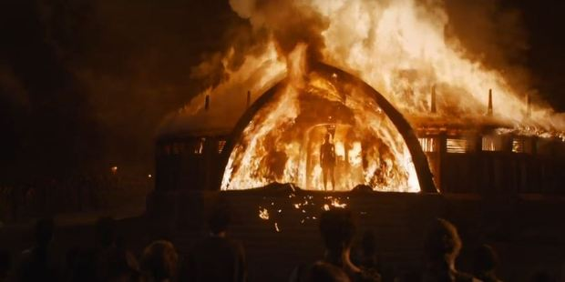 """Emilia found the nude scene to be """"empowering"""", when her on-screen character Daenerys walked through an inferno to emerge naked. Photo / HBO"""