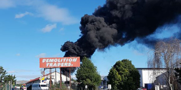 The Herald understands it is a large rubbish fire. Photo: Clayton Pinkney