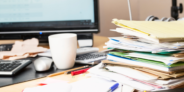 A messy desk is a very subjective issue, but worth looking at through the lens of team branding. Photo / iStock