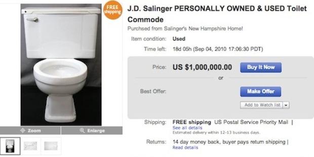 JD Salinger's toilet for sale on eBay.