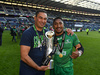 Former Auckland and Blues coach Pat Lam (left) and former Counties Manukau and Chiefs midfielder Bundee Aki celebrate winning the Guiness PRO 12. Photo / Getty Images