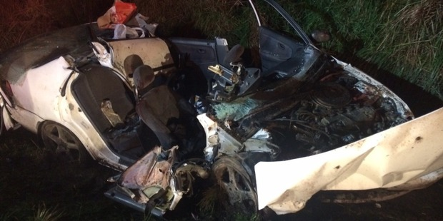 The 19 year-old was cut out of his car at the side of State Highway One. Photo / Supplied