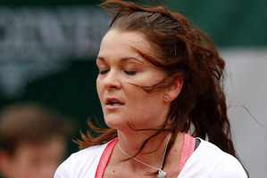 Poland's Agnieszka Radwanska closes her eyes as she plays Bulgaria's Tsvetana Pironkova. Photo / AP
