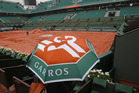 The rain fell all day at Roland Garros. Photo / AP