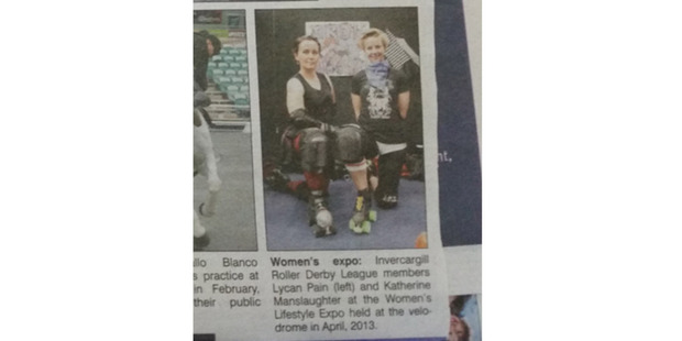 """Aaron Fox of Greenvale thought Sideswipe might appreciate the surnames of the two Invercargill Roller Derby League members. """"They take their sport seriously in the South,"""" he adds. Photo / Supplied"""