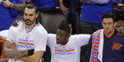 Oklahoma City Thunder center Steven Adams, left, guard Anthony Morrow, center, and forward Nick Collison watch from the bench during their game six defeat. Photo / AP