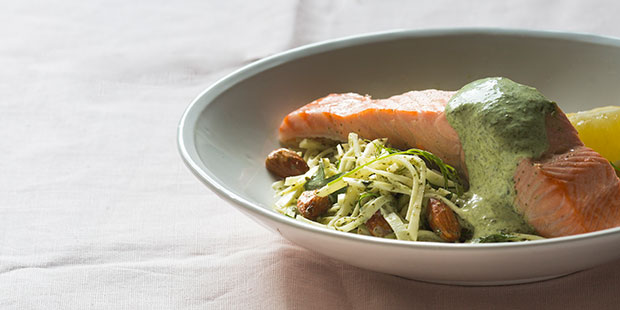 For Monday night dinner: Poached salmon with celeriac almond salad and green mayo. Photo / Bite magazine