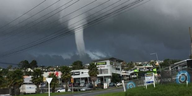 Loading Photos and videos of the waterspout over Arkles Bay have emerged online. Photo / Facebook / Margay Property Management