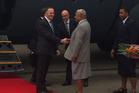 Prime Minister John Key shakes hands with Fiji Prime Minister Voreqe Bainimarama at Suva Airport. Photo / Claire Trevett