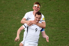 Chris Wood celebrates his goal at the OFC Nations Cup semifinal. Photo / Supplied