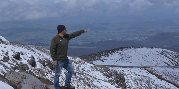 RESPECT FOR THE MOUNTAIN: Director Julian Arahanga points towards the Makotuku Stream.PHOTO/SUPPLIED