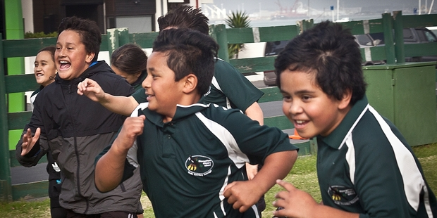 Maungatapu Primary students Reihana Timms, 10, Piripi Gardiner, 10, and Elijah Muraahi, 10, get competitive at the Matariki celebrations.