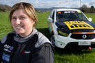 Christina Orr-West pictured on her family dairy farm near Edgecumbe in the Bay of Plenty with the ute she races around the country. Photo / Alan Gibson