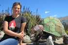 Fiona Campbell, with a turtle sculpture by Hannah Kydd, hopes for a buyer for the gallery. Picture / Otago Daily Times