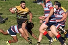 Greerton Marist flanker Joe Key takes on the Rotoiti defence on Saturday. Photo / Ben Fraser