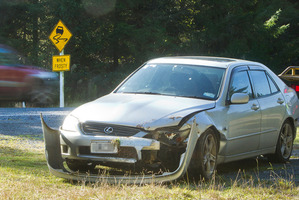 The car involved in a crash on State Highway 38 near Murupara this morning.  Photo/Ben Fraser