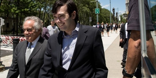 Attorney Benjamin Brafman and ex-pharmaceutical executive Martin Shkreli exit the U.S. District Court. Photo / Getty Images