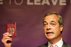 UK Independence Party (Ukip) leader Nigel Farage is pushing for a 'Leave' result. Photo / AP