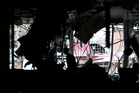 The shattered window of a billiard hall near the explosion site in Istanbul. Photo / AP