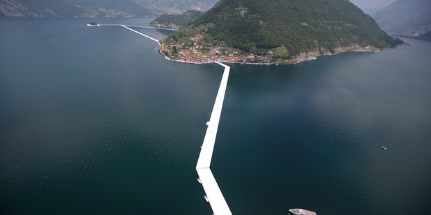 An aerial view of the in-progress installation 'The Floating Piers' by Bulgarian artist Christo Vladimirov Yavachev known as Christo, on the Lake Iseo, northern Italy. Photo / AP