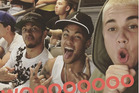 Justin Bieber took this selfie of him, Neymar and Lewis Hamilton (left) as they watched the Brazil match. Photo / Instagram.