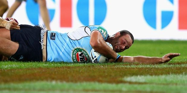 Boyd Cordner picked up a try for the NSW Blues on June 1st but also picked up a foot injury that could end his season. Photo / Getty Images