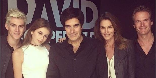 David Copperfield (centre) with Cindy Crawford, Rande Gerber, and their children at his show. Photo / Facebook