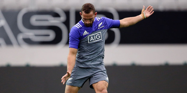 Loading All Black Aaron Cruden during a New Zealand All Blacks training session at Eden Park on June 9, 2016 in Auckland. Photo / Getty Images.