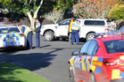 Police at a house on Emily St, Gisborne, where dogs attacked a boy. Photo / Gisborne Herald