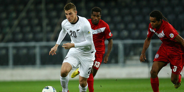 Chris Wood in action against New Caledonia. Photo / Getty