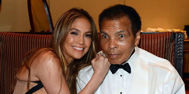 Singer Jennifer Lopez and boxer Muhammad Ali in 2013. Photo / Getty Images