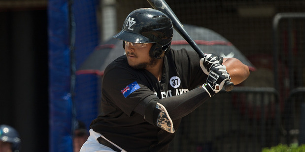 Boss Moanaroa bats during the World Baseball Classic Qualifier against Team Philippines. Photo / Getty Images