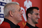 Wales coach Warren Gatland and captain Sam Warburton face the media. Photo / Getty