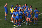 The Eels look dejected after the round 11 NRL match against the Melbourne Storm. Photo / Getty