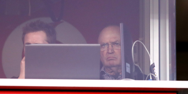 Sir Graham Henry looks on from the Warriors' coaching box. Photo / Getty