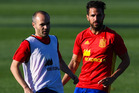 Andres Iniesta (L) and Cesc Fabregas of Spain in action during a training session at La Ciudad Del Futbol de las Rozas. Photo / Getty Images