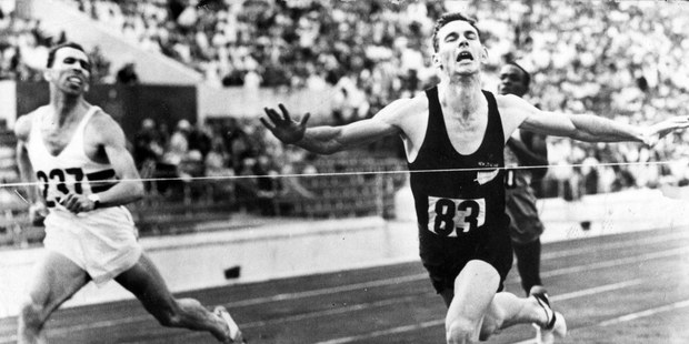 New Zealand runner Peter Snell winning gold at the Rome Olympics in the 800m in 1960. Photo / File