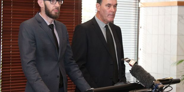 Hamilton City Council chief executive Richard Briggs (left) and general manager community Lance Vervoort at today's media briefing following Council's plea hearing at Hamilton District Court.