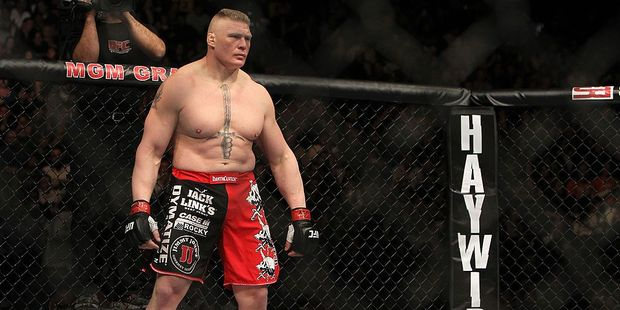 Loading Brock Lesnar stands in the Octagon before his bout against Alistair Overeem during the UFC 141 event at the MGM Grand Garden Arena. Photo / Getty