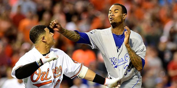Manny Machado of the Baltimore Orioles and Yordano Ventura of the Kansas City Royals fight in the fifth inning of their game at Oriole Park. Photo / Getty