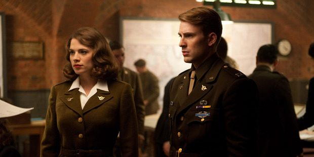 Agent Peggy Carter (Hayley Atwell) with Steve Rogers aka Captain America (Chris Evans).