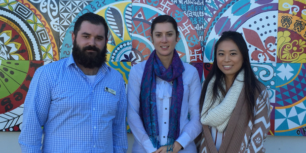 Teachers Ben Griffiths, Alicia England and Clara Kim from Auckland Normal Intermediate school. Photo / Patrice Dougan