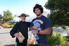 Warriors prop James Gavet spent a day off last week handing out food parcels around west and central Auckland. Photo / Doug Sherring