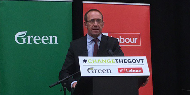 After the Labour-Green Party agreement was announced, support for Labour rose from 26 to 31 per cent. Pictured is Labour's Andrew Little addressing the recent Green Party conference. Photo / Supplied