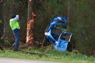 Scene of the crash on Dun Road today.  Photo/Ben Fraser