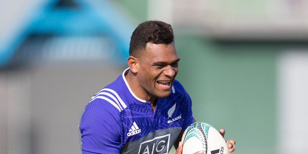 Loading Seta Tamanivalu, during an All Blacks training session. Photo / Brett Phibbs