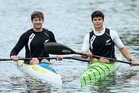 New Zealand under-23 reps Tim Waller (left) and Taris Harker finish a training session at Wairoa River. Photo / John Borren