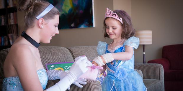 Cinderella visits Saoirse Gaffney. Photo / Hannah Gale Photography